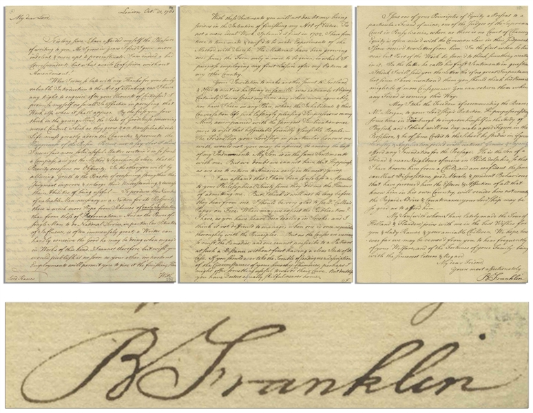 Benjamin Franklin Letter Signed to Scotsman Lord Kames, Mentioning His Book on Successful Living, ''...you will not doubt my being serious in the Intention of finishing my Art of Virtue...''