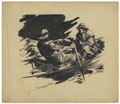 Bernard Krigstein Illustration, Circa 1940 of a Dramatic Scene of a Man Pointing a Gun at Another Man Rowing a Boat in a Storm