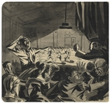Bernard Krigstein Illustration of a Boxing Match, Done While Stationed in England During WWII