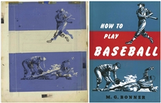 Bernard Krigstein Set of Illustrations for the Cover of How to Play Baseball From 1954