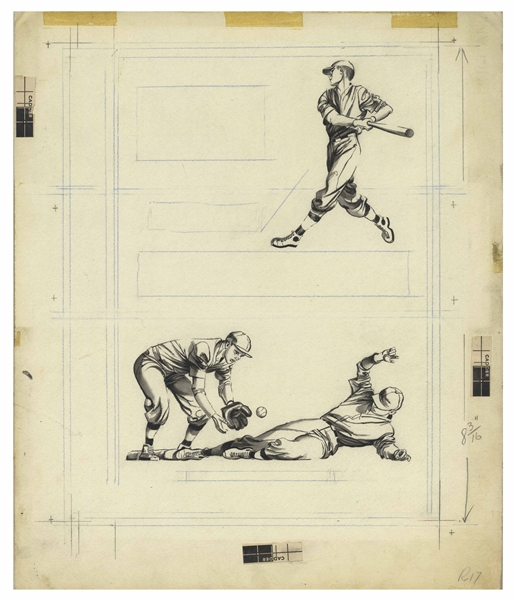 Bernard Krigstein Set of Illustrations for the Cover of ''How to Play Baseball'' From 1954
