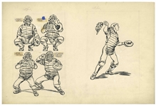 Bernard Krigstein Set of Illustrations for How to Play Baseball From 1954