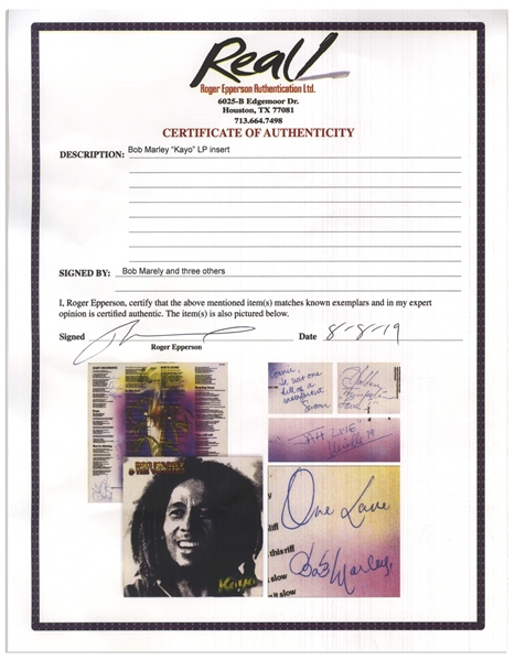 Bob Marley Signed ''Kaya'' Album -- Signed ''One Love / Bob Marley'' -- With Roger Epperson COA