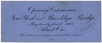 Admission Ticket to the Brooklyn Bridge Opening Ceremonies -- Printed by Tiffany & Co.