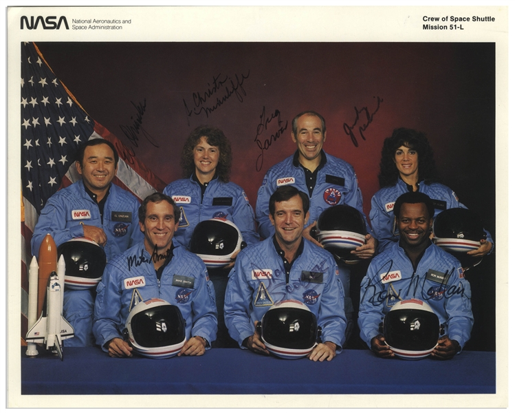 Space Shuttle Challenger Crew Signed 10'' x 8'' Photo, Uninscribed -- From the Collection of Mission Commander Dick Scobee