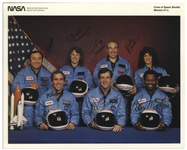 Space Shuttle Challenger Crew Signed 10 x 8 Photo, Uninscribed -- From the Collection of Mission Commander Dick Scobee