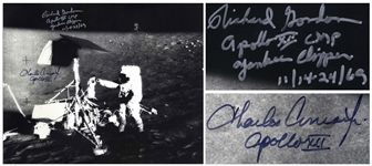 Charles Conrad and Richard Gordon Signed 20 x 16 of Conrad Upon the Lunar Surface