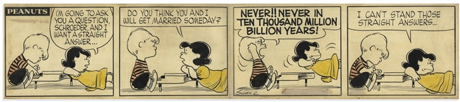 Charles Schulz Original Hand-Drawn Peanuts Comic Strip From 1956 -- Schroeder Breaks It to Lucy That Theyre NEVER!! Getting Married!