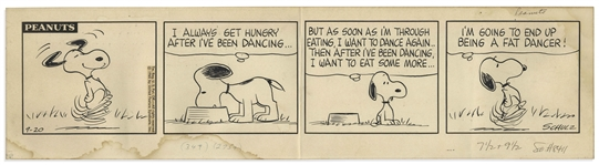 Charles Schulz Original Hand-Drawn Peanuts Strip -- 1965 Strip Features Snoopy Dancing