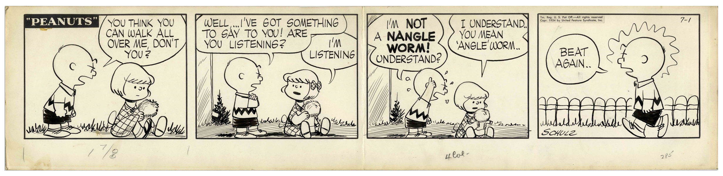 Charles Schulz Original Hand-Drawn ''Peanuts'' Comic Strip From 1954 -- Featuring Charlie Brown & His Frenemy Patty