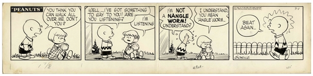 Charles Schulz Original Hand-Drawn Peanuts Comic Strip From 1954 -- Featuring Charlie Brown & His Frenemy Patty