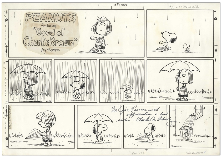 Charles Schulz Original Hand-Drawn Sunday ''Peanuts'' Comic Strip -- In This ''April Showers'' Strip, Woodstock Gets Drenched by a Rain Gutter