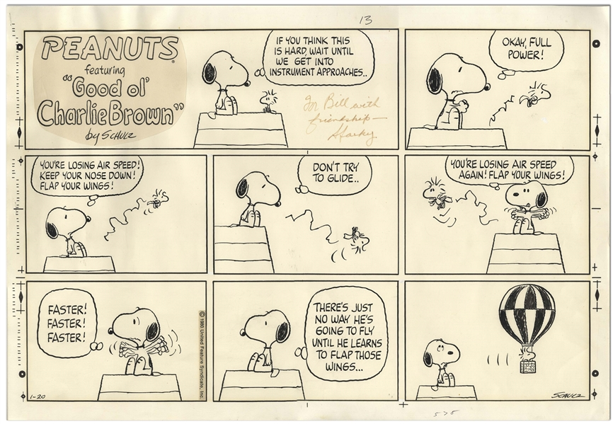 Charles Schulz Original Hand-Drawn ''Peanuts'' Sunday Comic Strip -- Snoopy Tries to Teach Woodstock How to Fly