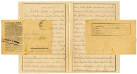 WWII Letter From a Prisoner at the Auschwitz Concentration Camp From 1943 -- With Auschwitz Censor Stamp and Postmark