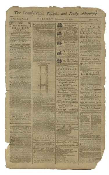 Philadelphia Newspaper From 18 September 1787, Reporting on the Constitutional Convention That Ended a Day Earlier on 17 September, When the U.S. Constitution Was Signed
