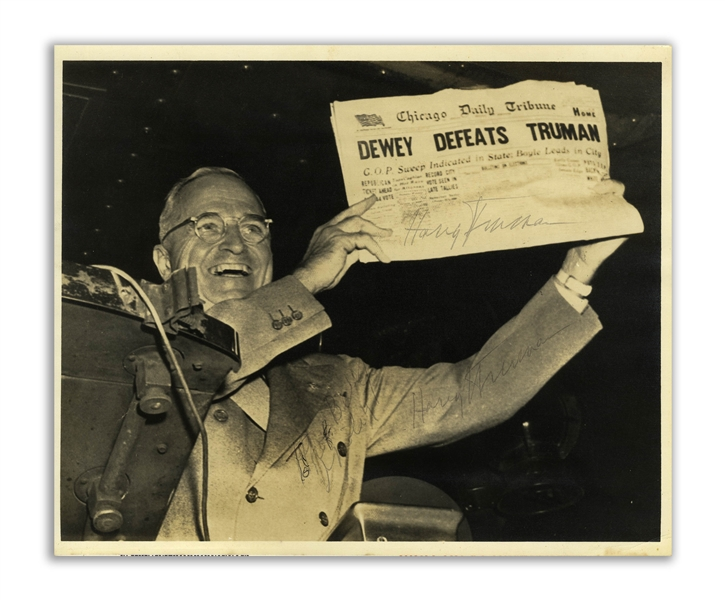 Harry Truman Twice-Signed 10'' x 8'' Photograph, Famously Showing Truman Holding Up the ''Dewey Defeats Truman'' Newspaper -- Original UPI Press Photo -- With University Archives COA