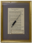 Dwight D. Eisenhower Bill Signing Pen Used as President to Sign The Automobile Dealers Act
