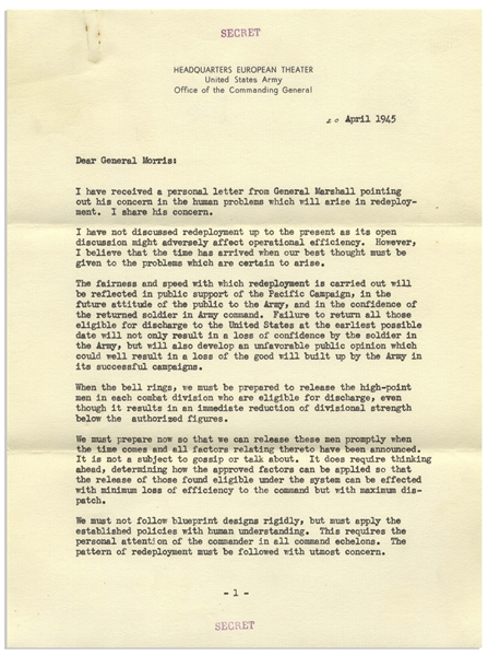 Dwight Eisenhower ''Secret'' Letter Signed From April 1945 -- ''...received a personal letter from General Marshall pointing out his concern in the human problems which will arise in redeployment...''