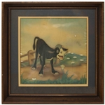 Original Disney Cel From the Academy Award-Winning 1938 Disney Short Ferdinand the Bull -- Featuring Ferdinand in the Opening Scene, Famously Smelling Flowers