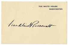 Franklin D. Roosevelt Signature as President Upon a White House Card