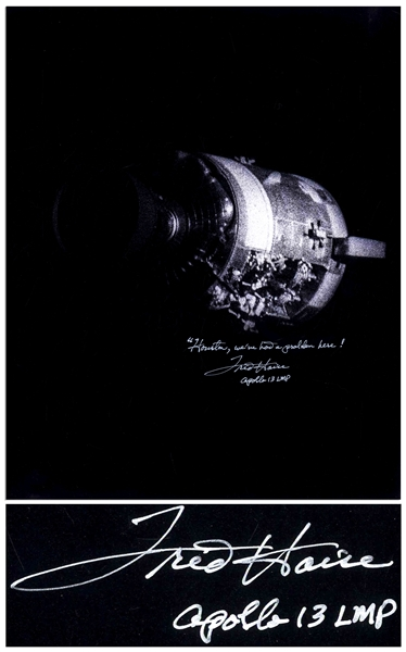 Fred Haise Signed 16'' x 20'' Photo of the Apollo 13 Damaged Service Module -- Haise Also Writes the Famous Quote, ''Houston, we've had a problem here!''