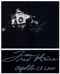 Fred Haise Signed 20 x 16 Photo of the Apollo 13 Lunar Module Lifeboat That Kept the Crew Alive for Days -- Haise Also Writes the Famous Quote, Houston, weve had a problem here!