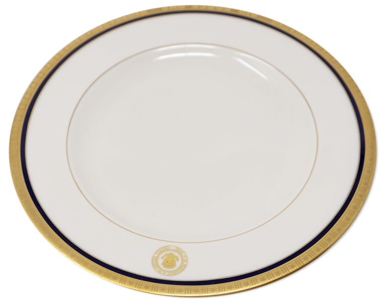 George H.W. Bush China Plate Used Aboard Air Force One -- With the Blue Band, Indicating It Was to Be Used Only in the President's Forward Cabin