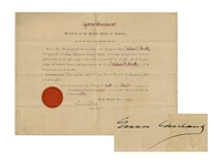 Grover Cleveland Document Signed as President -- With Photo of Cleveland & His Dog