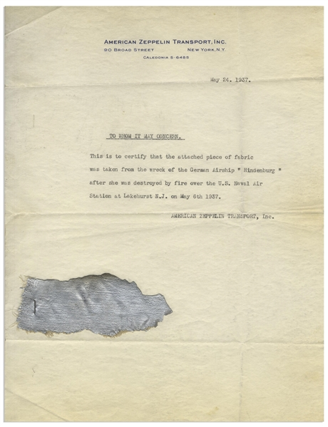 Piece of the Hindenburg Zeppelin After the 1937 Disaster -- With Letter of Provenance From American Zeppelin Transport, Inc.