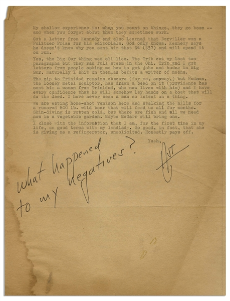 Hunter S. Thompson Letter Signed From 1961 -- Thompson Writes of His Girlfriend Getting an Abortion, ''...upon our return from Tiajuana, a place that all potential papas should know about...''