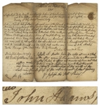 John Adams Autograph Manuscript Signed From 1769 -- Adams Advocates for Notable Bostonian John Melvill in a Debt Dispute