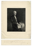 John D. Rockefeller Signed Portrait Engraving -- Measures 13 x 17.25
