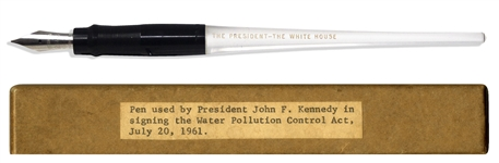 John F. Kennedy Bill Signing Pen Used as President to Sign Amendments to the Clean Water Act