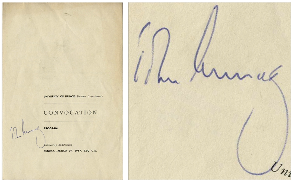 John F. Kennedy Signed Program for the Graduation Ceremonies at University of Illinois in 1957, Where He Gave the Commencement Address -- With University Archives COA