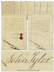 President John Tyler Signed Treaty of Peru -- Tylers Signature Here on 12 January 1843 Ratifies the 1841 Treaty