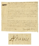 John Adams Family Document -- Regarding Debts Due From the Estate of Elihu Adams, John Adams Brother