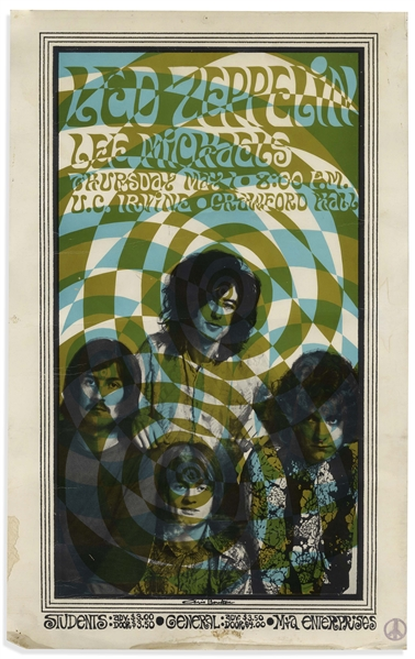 Rare Led Zeppelin Poster Measuring 12'' x 19'' for Their Show on 1 May 1969 in Irvine, California