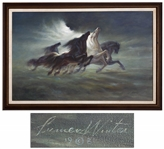 Steeds of Apollo Oil on Canvas by Apollo XIII Mission Insignia Designer Lumen Martin Winter -- Scarce Painting From 1981 Is Only Steeds of Apollo Original Artwork Apart From 1969 Mural