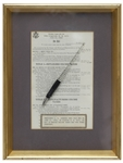 Lyndon B. Johnson Bill Signing Pen Used as President to Sign a Tax Reduction Bill