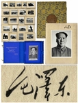 Extraordinarily Rare Mao Tse-Tung Signed Portrait Photograph as Chairman of the Peoples Republic of China, Mounted to a Silk Covered Board, Where Mao Signs His Name for a Soviet Leader