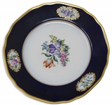 Margaret Thatcher Personally Owned China -- Cake Plate in a Navy Blue Floral Pattern