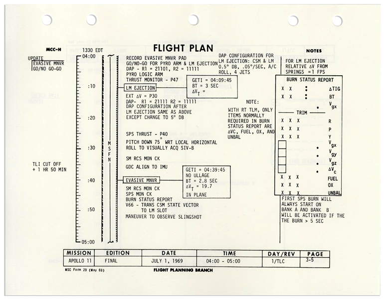 Michael Collins Signed Copy of the Apollo 11 Flight Plan