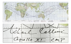 Michael Collins Signed Apollo Earth Orbit Chart From June 1969