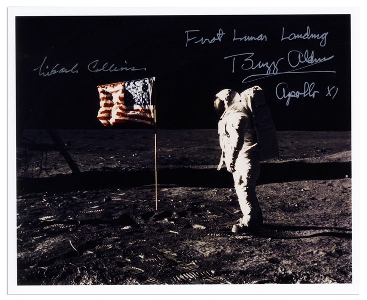 Buzz Aldrin and Michael Collins Signed 10'' x 8'' ''First Lunar Landing'' Photo -- Aldrin Stands in Front of the U.S. Flag on the Moon