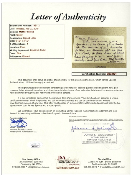 Scarce Mother Teresa Autograph Letter Signed on a Prayer Card -- With JSA COA