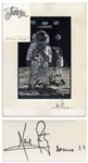 Neil Armstrong Signed Artwork of Armstrong Standing on the Lunar Surface -- Signed Neil Armstrong / Apollo 11, in Near Fine Condition