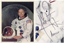 Neil Armstrong Signed 8 x 10 Photo in His White Spacesuit, Without Inscription -- Armstrong Also Writes His Mission Apollo 11 Below His Name -- With Steve Zarelli COA