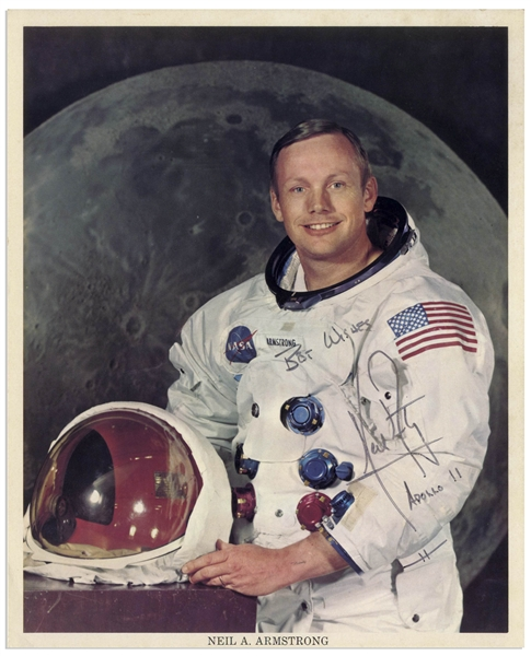 Neil Armstrong Signed 8'' x 10'' Photo in His White Spacesuit, Without Inscription -- Armstrong Also Writes His Mission ''Apollo 11'' Below His Name -- With Steve Zarelli COA