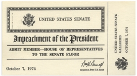 Rare U.S. Senate Ticket to the Impeachment Trial of President Richard Nixon -- Ticket Allows U.S. House Member to View Senate Proceedings