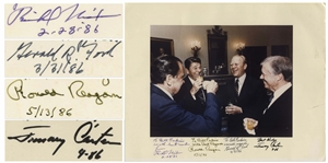 Four Presidents Signed Photo Measuring 14 x 10.75 -- Signed by Ronald Reagan as President in 1986, as Well as Richard Nixon, Gerald Ford and Jimmy Carter
